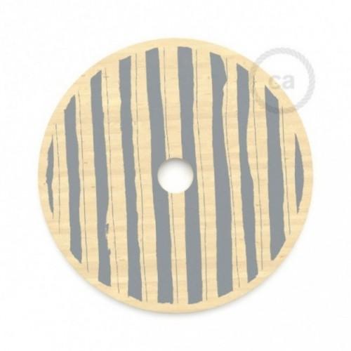 Le Palle Volanti. Abat-jour circulaire en bois imprimé des deux cotés - pattern Stripes + pattern Dots