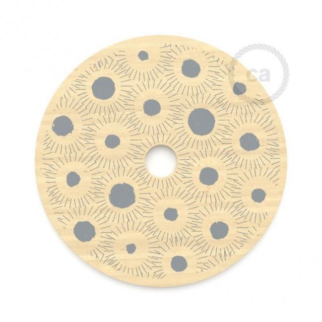 """Pendel completo """"Le Palle Volanti"""" disegno """"E' comunque un bell'oggetto"""" + pattern Trippy e cavo tessile RN06 Juta"""