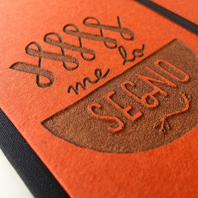 "Carnet ""Me lo segno"" couverture rigide orange en carton naturel, format de poche - SMALL 11x15 cm"