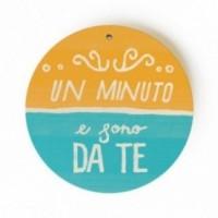 """MonoPipeau - """"un minuto e sono da te""""disque décoratif en bois imprimé en couleurs"""
