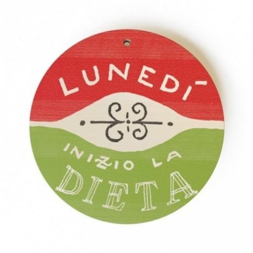 """MonoPipeau """"lunedì inizio la dieta"""" disque décoratif en bois imprimé en couleurs"""