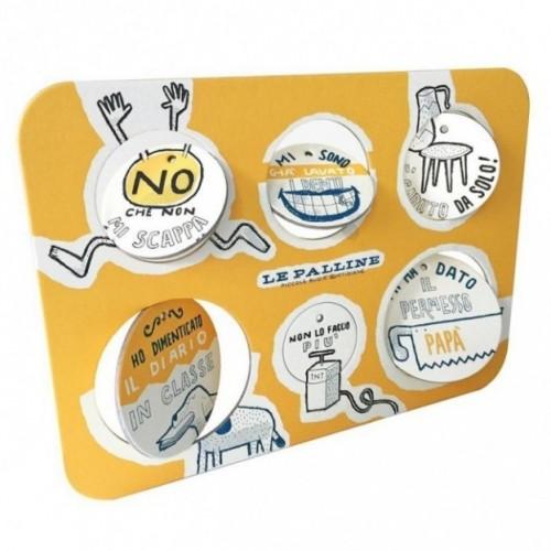 Le Palline, Tavola 1 - sei dischi decorativi stampati su cartone riciclato