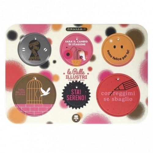 Palle ILLUSTRI vol. 2 - Tavola illustrata da Giacomo Bagnara con 6 dischi decorativi stampati su cartone riciclato