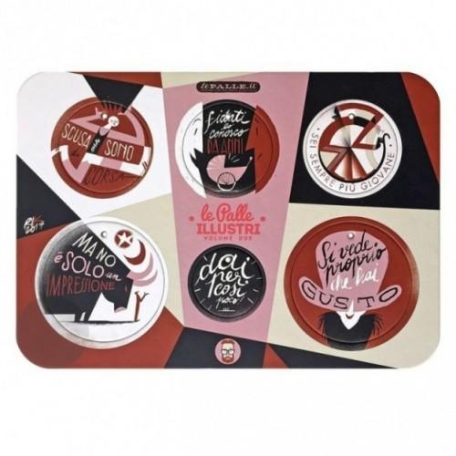 Palle ILLUSTRI 2ème edition - Planche illustrée par Riccardo Guasco avec 6 disques décoratifs imprimés sur carton recyclé