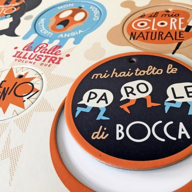 Palle ILLUSTRI vol. 2 - Tavola illustrata da Goran con 6 dischi decorativi stampati su cartone riciclato