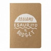 """Carnet """"Abbiamo esaurito il budget"""", couverture jaune sable et intérieur en papier noir"""