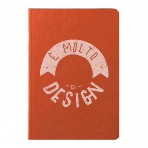 """Carnet """"È molto di design!"""", couverture orange et intérieur en papier noir"""