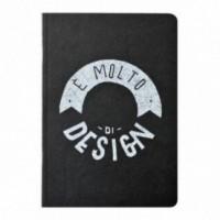 """Notes tascabile """"È molto di design"""", copertina nera e interno in carta colore nero"""