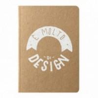 """Carnet """"È molto di design!"""", couverture jaune sable et intérieur en papier noir"""