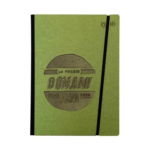 """Carnet """"Lo faccio domani come prima cosa"""" couverture rigide VERTE en carton naturel, format LARGE 16x21,7 cm"""