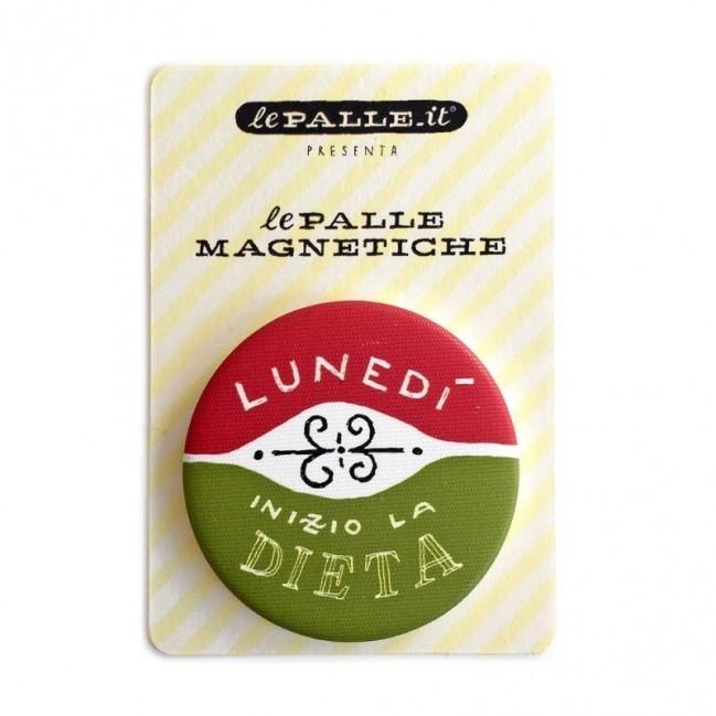 """Le Palle Magnetiche: magnete """"Lunedì inizio la dieta"""""""