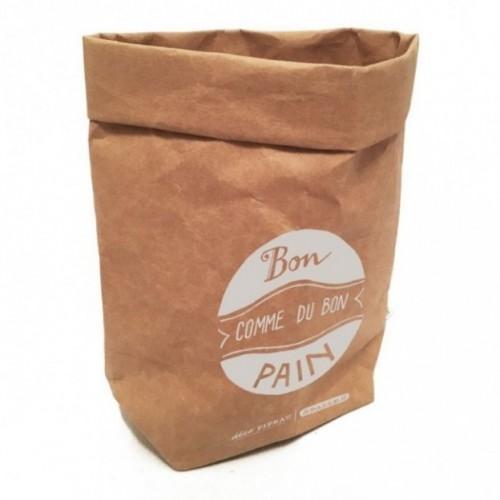 """Sacchino contenitore multiuso """"Bon comme du bon pain"""" in fibra di cellulosa color avana, lavabile e riutilizzabile"""
