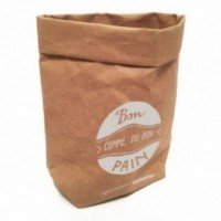"""Sachet multi-usages """"Bon comme du bon pain"""" en fibre de cellulose couleur havane, lavable et réutilisable"""