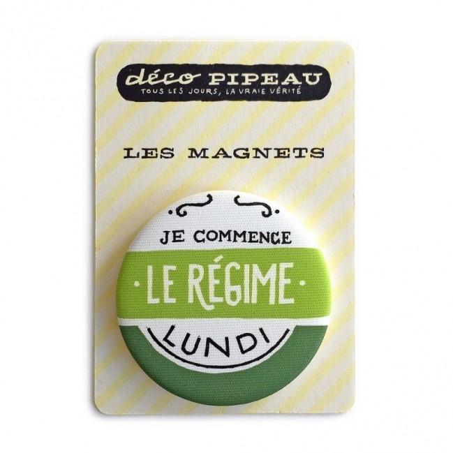 """Déco Pipeau Magnétique: magnet """"Je commence le régime lundi"""""""