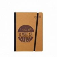 """Taccuino """"il faut que je note ça"""" copertina rigida OCRA in cartone naturale, formato SMALL tascabile 11x15 cm"""