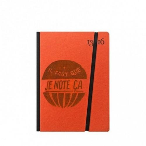 """Taccuino """"il faut que je note ça"""" copertina rigida ARANCIONE in cartone naturale, formato SMALL tascabile 11x15 cm"""