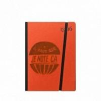 """Cahier """"il faut que je note ça"""" couverture rigide ORANGE en carton naturel, format de poche SMALL, 11x15 cm"""