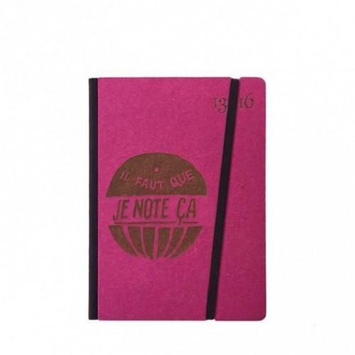 "Cahier ""il faut que je note ça"" couverture rigide FUCHSIA en carton naturel, format de poche SMALL, 11x15 cm"