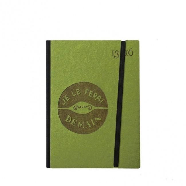 """Taccuino """"Je le ferai demain"""" copertina rigida VERDE in cartone naturale, formato SMALL tascabile 11x15 cm"""