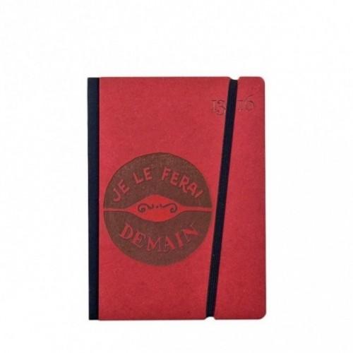 """Taccuino """"Je le ferai demain"""" copertina rigida ROSSO in cartone naturale, formato SMALL tascabile 11x15 cm"""