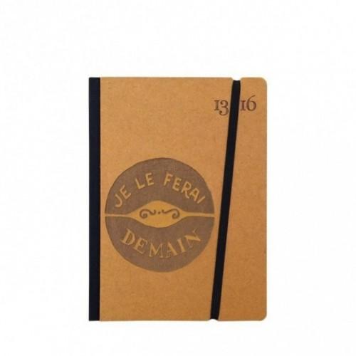 """Taccuino """"Je le ferai demain"""" copertina rigida OCRA in cartone naturale, formato SMALL tascabile 11x15 cm"""