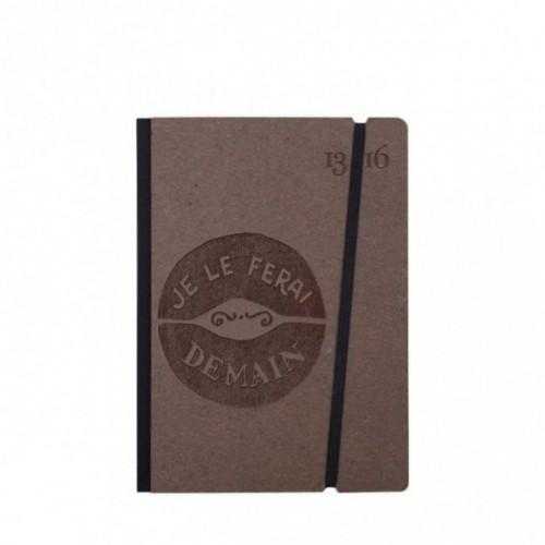 """Taccuino """"Je le ferai demain"""" copertina rigida CAFFÈ in cartone naturale, formato SMALL tascabile 11x15 cm"""