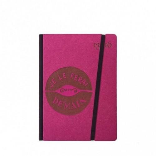 """Taccuino """"Je le ferai demain"""" copertina rigida FUCSIA in cartone naturale, formato SMALL tascabile 11x15 cm"""