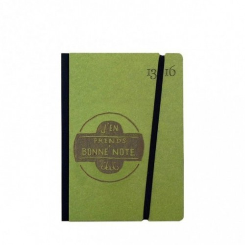 "Taccuino ""J'en prends bonne note"" copertina rigida VERDE in cartone naturale, formato SMALL tascabile 11x15 cm"