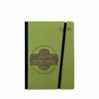 "Taccuino ""J'en prends bonne note"" copertina rigida VERDE in cartone naturale, formato SMALL tascabile 11x15 cm"
