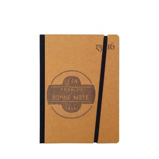 """Taccuino """"J'en prends bonne note"""" copertina rigida OCRA in cartone naturale, formato SMALL tascabile 11x15 cm"""