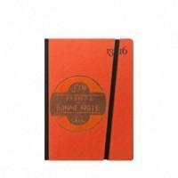 """Taccuino """"J'en prends bonne note"""" copertina rigida ARANCIONE in cartone naturale, formato SMALL tascabile 11x15 cm"""