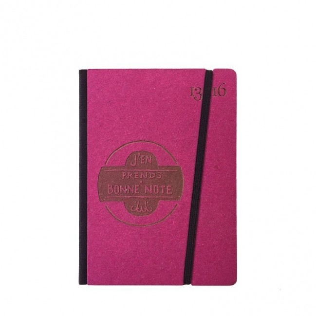 """Taccuino """"J'en prends bonne note"""" copertina rigida FUCSIA in cartone naturale, formato SMALL tascabile 11x15 cm"""