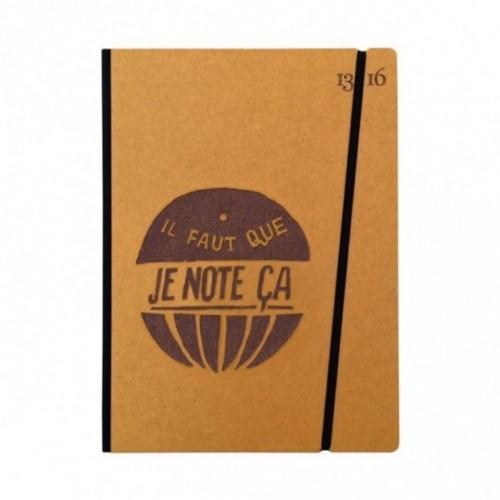 """Cahier """"il faut que je note ça"""" couverture rigide OCRE en carton naturel, format de poche LARGE, 16x21,15 cm"""