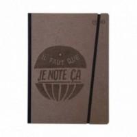 """Taccuino """"il faut que je note ça"""" copertina rigida CAFFÈ in cartone naturale, formato LARGE 16x21,7 cm"""