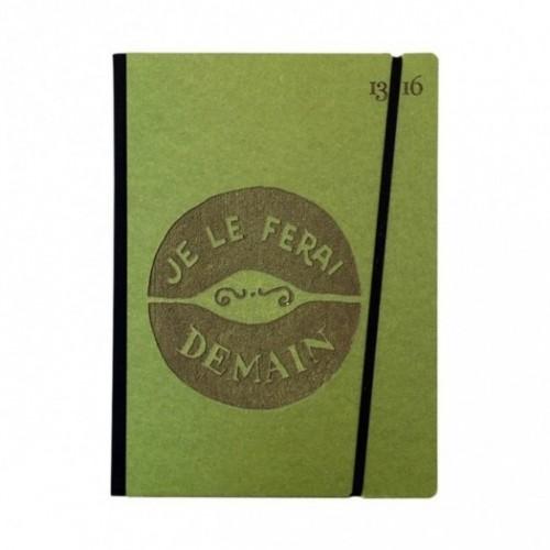"""Cahier """"Je le ferai demain"""" couverture rigide VERTE en carton naturel, format de poche LARGE, 16x21,15 cm"""