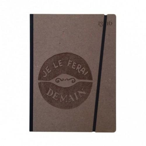 """Taccuino """"Je le ferai demain"""" copertina rigida CAFFÈ in cartone naturale, formato LARGE 16x21,7 cm"""