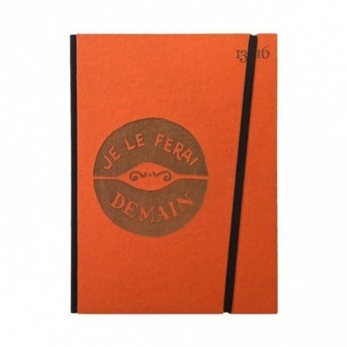 """Cahier """"Je le ferai demain"""" couverture rigide ORANGE en carton naturel, format de poche LARGE, 16x21,15 cm"""