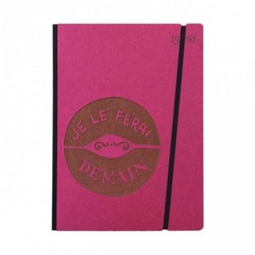 """Cahier """"Je le ferai demain"""" couverture rigide FUCHSIA en carton naturel, format de poche LARGE, 16x21,15 cm"""