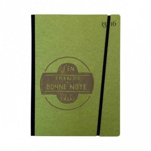 """Cahier """"J'en prends bonne note"""" couverture rigide VERTE en carton naturel, format de poche LARGE, 16x21,15 cm"""