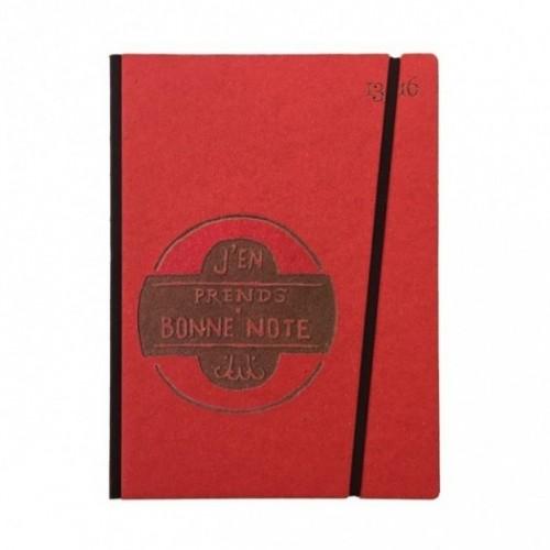 """Cahier """"J'en prends bonne note"""" couverture rigide ROUGE en carton naturel, format de poche LARGE, 16x21,15 cm"""