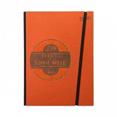 """Cahier """"J'en prends bonne note"""" couverture rigide ORANGE en carton naturel, format de poche LARGE, 16x21,15 cm"""