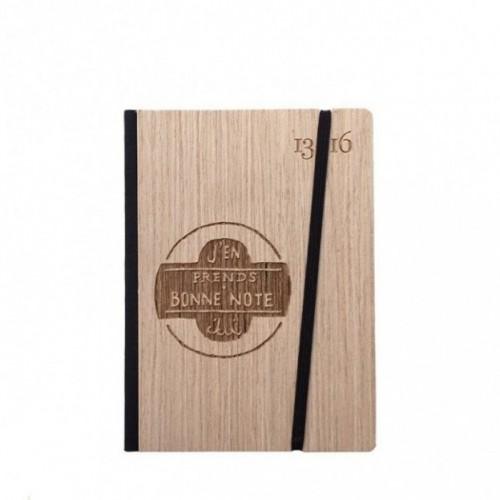 """Taccuino """"J'en prends bonne note"""", copertina rigida in legno frassino, SMALL tascabile formato 11x15 cm"""