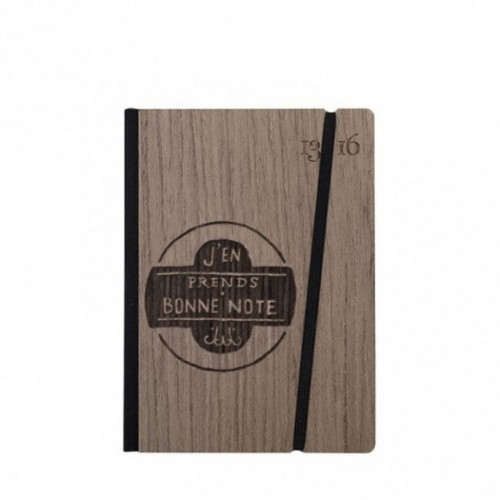 """Taccuino """"J'en prends bonne note"""", copertina rigida in legno palissandro, SMALL tascabile formato 11x15 cm"""