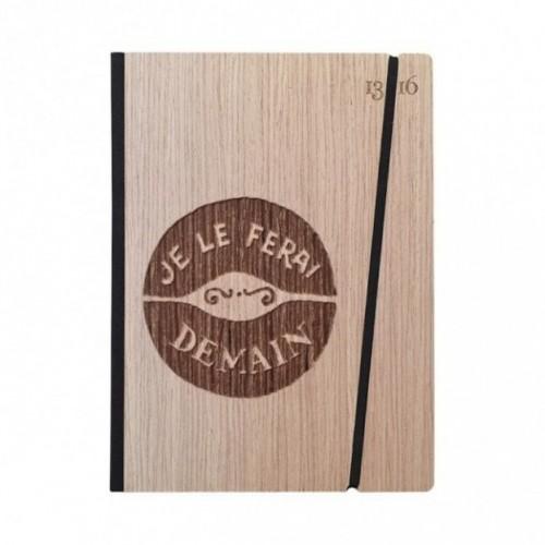 """Taccuino """"Je le ferai demain"""", copertina rigida in legno essenza frassino, formato LARGE 16x21,7 cm"""