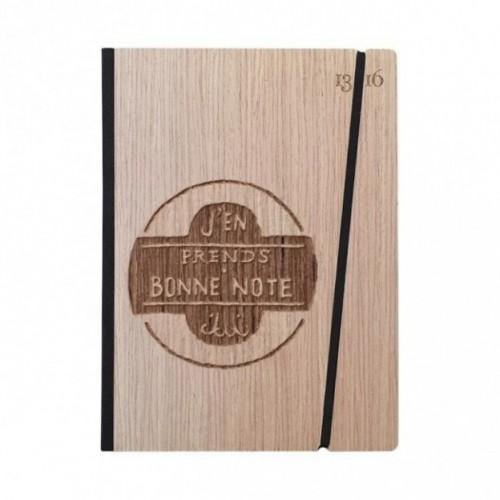 """Taccuino """"J'en prends bonne note"""", copertina rigida in legno essenza frassino, formato LARGE 16x21,7 cm"""