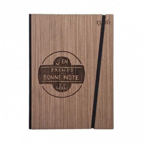 """Taccuino """"J'en prends bonne note"""", copertina rigida in legno essenza palissandro, formato LARGE 16x21,7 cm"""