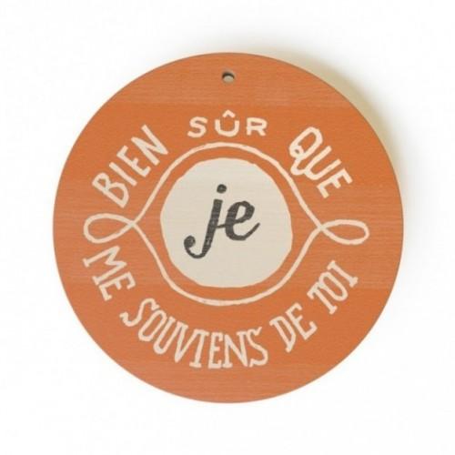 """Mono Pipeau """"Bien sûr que je me souviens de toi """" disco decorativo in legno stampato a colori"""