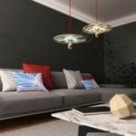 Sospensione UFO con paralume in legno double-face illustrato da Marco Bonatti e cavo tessile RC35 Cotone Rosso Fuoco