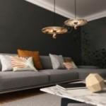 Sospensione UFO con paralume in legno double-face illustrato da Marika Marconcini e cavo tessile RM13 Effetto Seta Marrone