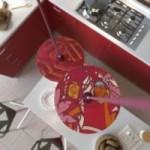 Sospensione UFO con paralume in legno double-face illustrato da Pistrice e cavo tessile RC32 Cotone Vinaccia